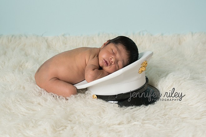 Marine Hat Newborn Photography
