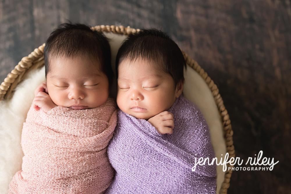 Identical newborn twins Basket Photography
